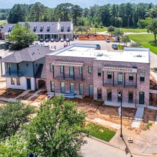 A bird's eye view of the new Bridgewater Five condos that will welcome its first residents soon! #shreveportconstruction #buildwithvintage #traditionalneighborhooddevelopment #luxurycondos