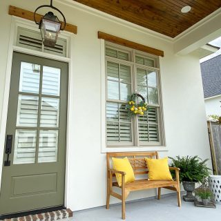 Pops of yellow on this happy Provenance porch say welcome weekend! #shreveporthomes #southerncharm #popsofyellow #frontporch