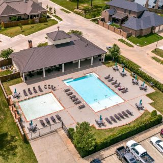Here's a bird's eye view of our clubhouse and pool area. It's a favorite spot to meet up with neighbors and cool off! #neighborhoodamenities #traditionalneighborhooddevelopment #provenancecommunity