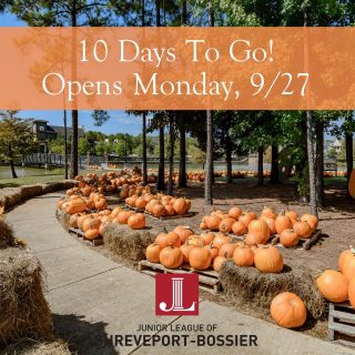 Get excited - starting Friday it's just 10 days until the Great Pumpkin Patch in Provenance by the Junior League Shreveport-Bossier opens! This is an important fundraiser for this wonderful volunteer organization. Make plans to attend and follow @juniorleaguesb for all the details! #pumpkinpatch #juniorleaguesb #iamjlsb #jlsb #supportshreveport #shreveportevents