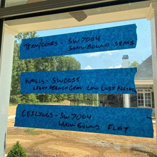 """A little """"behind the scenes"""" pro tip on keeping those paint colors straight! We're looking forward to seeing the Snowbound and French Grey in this new home! #bluepainterstape #paintcolors #shreveportconstruction #shreveporthomes"""